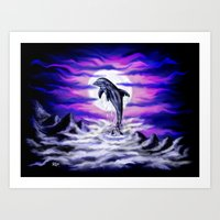 Moonlight-Dolphin Art Print