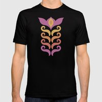 Spiced Swirls [Floral] Mens Fitted Tee Black SMALL