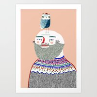 Man and Owl.  Art Print