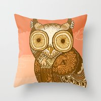 Owlie in Autumn Throw Pillow