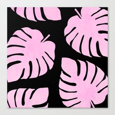 Pink Monstera Leaves Pattern Canvas Print