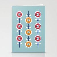 Scandinavian inspired flower pattern - blue background Stationery Cards