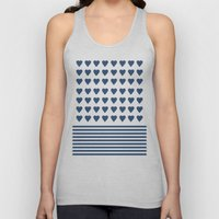 Heart Stripes Navy Unisex Tank Top