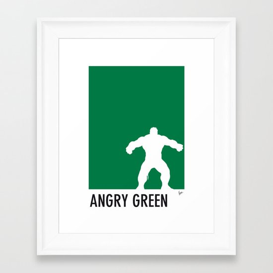 My Superhero 01 Angry Green Minimal poster Framed Art Print