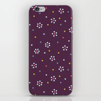 Floral Pattern In Purple And Dots iPhone & iPod Skin