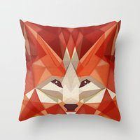 the glaring fox Throw Pillow