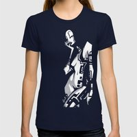 TATTOO GIRL ONE Womens Fitted Tee Navy SMALL