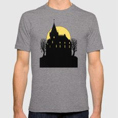 Creepy Castle in Silhouette Mens Fitted Tee Tri-Grey SMALL