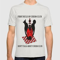 First Rule of Chess Club Mens Fitted Tee Silver SMALL