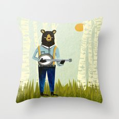Bear's Bourree - Bear Playing Banjo Throw Pillow