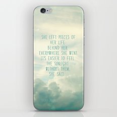 she left pieces of her life behind iPhone & iPod Skin