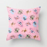 Sailor Kitties Pink Pattern Throw Pillow