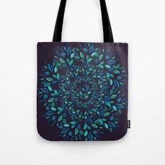 Blue Leaves Mandala Tote Bag