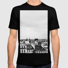 Upon the rooftops (B&W) SMALL Mens Fitted Tee Black