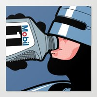 The secret life of heroes - Robot Drink Canvas Print