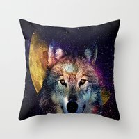 Wolf Moon Space  Throw Pillow