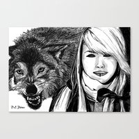 The girl and the wolf Canvas Print
