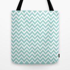 Teal Blue Chevron Tote Bag