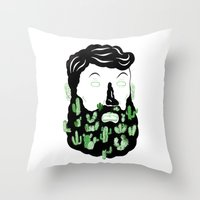 Cactus Beard Dude Throw Pillow