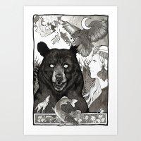 Bear, Wolf, Pike And Fal… Art Print