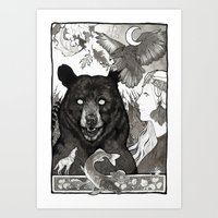 Bear, Wolf, Pike And Fal… Art Print