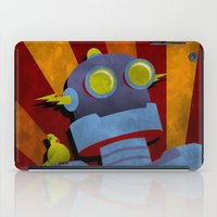 Retro Robot with Yellow Bird iPad Case