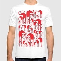 Elephant Herd Mens Fitted Tee White SMALL