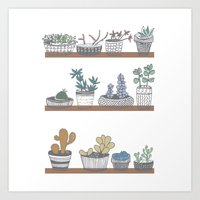 Quirky Succulents Art Print