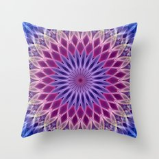 Mandala in pastel blue and pink tones Throw Pillow