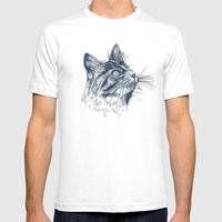 Cat Portrait Mens Fitted Tee White SMALL