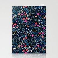 Teeny Tiny Floral Black Stationery Cards