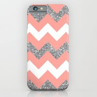 coral glitter chevron iPhone 6 Slim Case