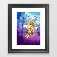 Angel boy on a swing Framed Art Print