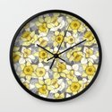 Daffodil Daze - yellow & grey daffodil illustration pattern Wall Clock