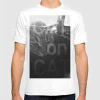 Cat on Cat Mens Fitted Tee White SMALL