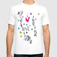 Butterfly Garden Mens Fitted Tee White SMALL