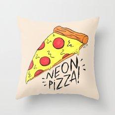 NEON PIZZA Throw Pillow