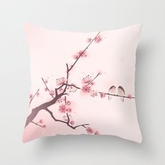 Oriental style painting, cherry blossom in spring Throw Pillow