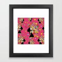 Hummingbird Kiss on Floral Girl  Framed Art Print