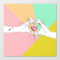 Heart Hands [Vintage Can… Canvas Print