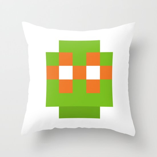 hero pixel green orange Throw Pillow