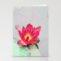 art style pretty pink waterlily flower  Stationery Cards
