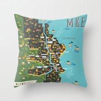 Mapping  Milwaukee Throw Pillow