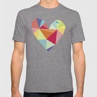 Geometric heart print Mens Fitted Tee Tri-Grey SMALL