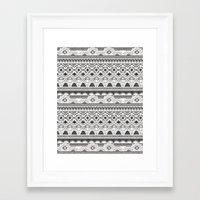 CRYSTAL AZTEC B/W  Framed Art Print
