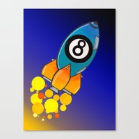 Eight Ball Rocket Canvas Print