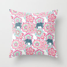 Tiny Elephants in Fields of Flowers Throw Pillow
