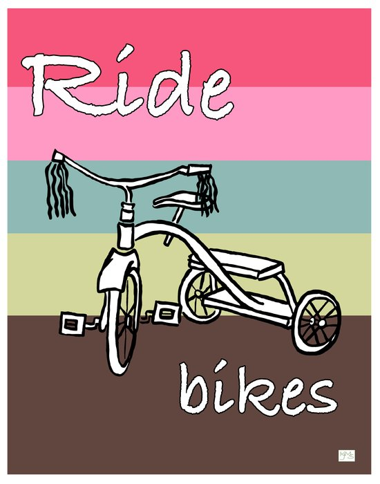 Ride Bikes on Striped Conch Background Art Print