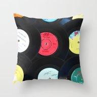Retro Vinyl Records Throw Pillow