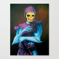Skeletor Holding A Cat Canvas Print